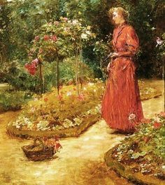 Frederick Childe Hassam (1859-1935). Woman Cutting Roses in a Garden. 1888-89