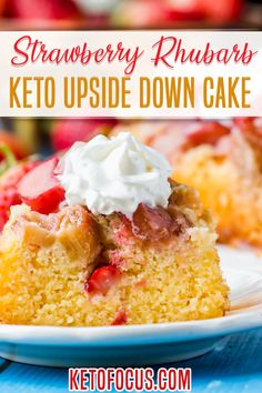 Keto Strawberry Rhubarb Upside Down Cake! Two of America's classic fruit and vegetable pairing married together to form the ultimate moist, spongy strawberry rhubarb keto cake. Top with sugar-free whipped cream or ice cream for a slice of the best summertime keto dessert! | KetoFocus @ketofocus #ketodesserts #ketostrawberryrhubarb #ketocakerecipes #ketosummerrecipes #ketobaking #ketorhubarbrecipes #sugarfreerecipes #glutenfreerecipes #ketofocus Sugar Free Sweets, Sugar Free Recipes, Baking Recipes, Cake Recipes, Dessert Recipes, Flour Recipes, Keto Recipes, Breakfast Recipes, Rhubarb Keto