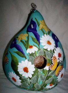 Calla Lillies, Daffodils, Daisies, Butterflies Lg Blue Painted Gourd birdhouse