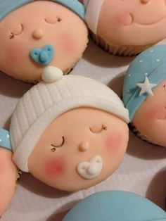 30 Trendy baby shower ides for boys cakes cupcakes fondant Baby Cupcake, Baby Shower Cupcakes For Boy, Cupcakes For Boys, Baby Shower Cookies, Baby Boy Shower, Baby Shower Biscuits, Baby Shower Pasta, Fondant Cupcakes, Fondant Baby