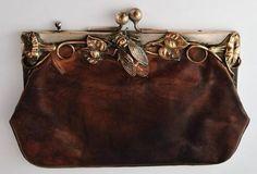 Art Nouveau cicada leather purse!