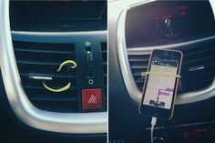 Loop a rubber band around your air conditioner vent. Now you can see your directions while you drive without spending a penny.