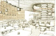 Pizza Bar at the Aria will be opening in May 2013 Interior Design Renderings, Interior Design Courses, Interior Rendering, Interior Sketch, Architecture Drawings, Architecture Plan, Architecture Graphics, Rendering Drawing, Perspective