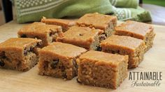 These pumpkin bars are moist and hold together well, making them a great addition to a potluck table. I get a big thumbs up whenever I bake them.