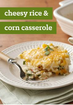 Cheesy Rice & Corn Casserole – Here's the ultimate in recipe deliciousness—a cheese, corn, and rice casserole—made pretty with bell peppers and cilantro.