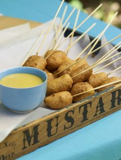 homemade corn dogs and mustard