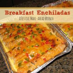 Christmas brunch for your overnight guests will be easier with these festive whole wheat breakfast enchiladas ready to go in the freezer.