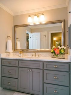 The Gray Cabinets With Gold Accents In Downstairs Bathroom Fixer Upper Love White Counte Rtops I Would Go A Little Lighter On