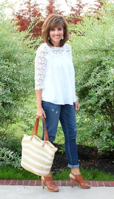 There's nothing I love better than a crisp white top and denim. This lace top from Posh Pony Boutique is perfect with boyfriend jeans. #graceandbeautystyle #ootd #whatiwore #summerfashion