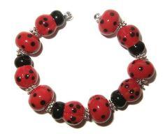 Ladybugs  lampwork bead set by K Urato SRA by DesignsbyKUrato, $26.00