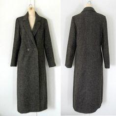 Brown Herringbone Wool Coat Women Wool Coat Long Wool Coat Long Winter Coat Ladies Wool Coat Long Wool Coat Women Winter Coat Outerwear 70s by brittylove