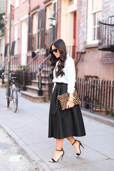 Chambray shirt + black skirt.