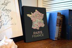 """Paris Map Canvas Print - 8x10"""" - Paris France Canvas Art - Paris Map Print - Paris Decor by AGierDesign on Etsy https://www.etsy.com/listing/203933901/paris-map-canvas-print-8x10-paris-france"""