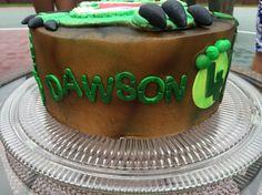 Dawson's Trex birthday cake. Dinosaur Birthday Cakes, Desserts, Food, Tailgate Desserts, Deserts, Meals, Dessert, Yemek, Eten