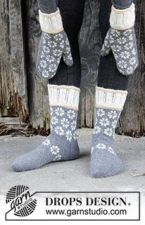 Winter Daisies / DROPS - Knitted mittens in DROPS Nord. The piece is worked with Nordic pattern, Latvian cable and lace pattern.Knitted socks in DROPS Nord. The piece is worked with Nordic pattern, Latvian cable and lace pattern. Lace Knitting, Knitting Socks, Knitting Patterns Free, Knit Crochet, Drops Design, Fingerless Mittens, Knit Mittens, Knitted Mittens Pattern, Lace Patterns