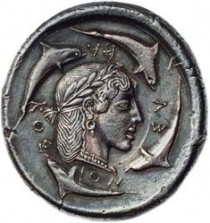 """archaicwonder: """" The rare Demareteion (decadrachm) of Syracuse, Sicily c. BC Demareteion is the name given in antiquity to a coin of Syracuse. The early Syracusan decadrachm was named the."""