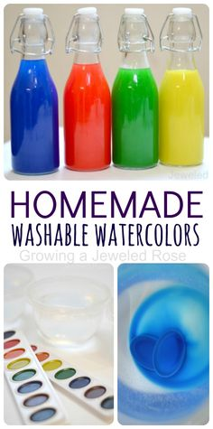 Make your own WASHABLE liquid watercolor paints. These are so vibrant and cost mere pennies to make
