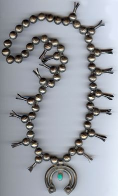 VINTAGE NAVAJO INDIAN STERLING SILVER & TURQUOISE SQUASH BLOSSOM NAJA NECKLACE