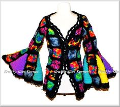 Gehaakte Hippi oma Square Vest/trui, Coat Of Many Colors - Made to Order
