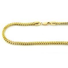 We are proud to present this exclusive solid yellow or white gold Franco chain with a lobster claw lock. This solid gold FRANCO is a squared off chain and weaved together for a luxurious look. It takes the top of the line craftsman to make this men's Mens Gold Chain Necklace, 14k Gold Chain, Men Necklace, Silver Necklaces, Gold Bangles, Gold Jewelry, Jewelery, Unique Jewelry, Solid Gold
