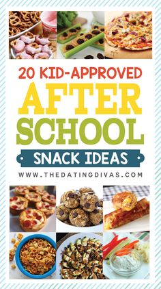 20 Kid-approved (and easy to make) after school snacks! I love ALL of these great ideas and recipes! www.TheDatingDivas.com