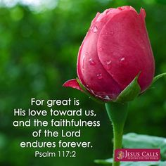 Psalm 117:2   - For great is His love toward us, and the faithfulness of the Lord endures forever.