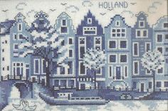 Europe - Netherlands, Delfts bluework, warehouses in Amsterdam Cross Stitch Boards, Mini Cross Stitch, Cross Stitch Needles, Cross Stitch Alphabet, Delft, Blackwork, Cross Stitching, Cross Stitch Embroidery, Embroidery Patterns