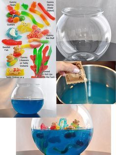 DIY gummy candy/Jell-O Fish Bowl. Could be made. Cute idea for beach and under-the-sea parties.