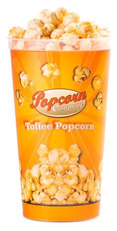 Popcorn Company Toffee Popcorn: Ein Becher zum Knuspern Toffee Popcorn ist eine mit einem knusprigen Karamellüberzug veredelte Geschmacksvariante des beliebten Kinosnacks. Der Bestseller unter den Popcornspezialitäten präsentiert sich im stylischen Becher besonders appetitlich.