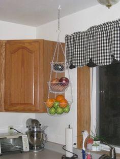 Amazon.com: Fox Run 3 Tier Hanging Fruit Vegetable Kitchen Storage Basket    Green