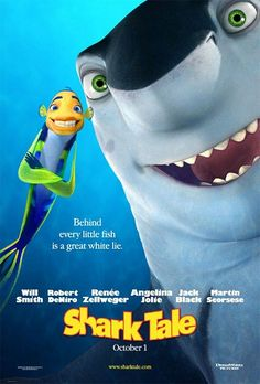 Shark Tale on DVD February 2005 starring Will Smith, Jack Black, Robert De Niro, Angelina Jolie. Oscar is a fast-talking little fish who dreams big. But his big dreams land him in hot water when a great white lie turns him into an unlike Childhood Movies, Kid Movies, Cartoon Movies, Great Movies, Movies And Tv Shows, Amazing Movies, Family Movies, Cartoon Characters, Will Smith Movies