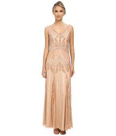 1920s long beaded Deco wedding gown dress -  Adrianna Papell - Long Beaded Dress with V-Neck Petal Womens Dress $360.00 AT vintagedancer.com