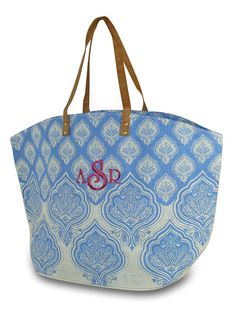 This monogrammed travel bag will make you want to get away. Great new fall  tote in a gray pindot pattern with genuine handles. b8a38f9a7e80b