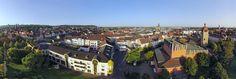 Panorama über die Innenstadt von Bruchsal, im Vordergrund Technisches Rathaus, Bürgerpark und Bürgerzentrum Bruchsal