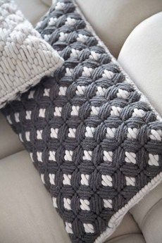 Geometric Rugs and Cushions - Mad About The House : Woven Siali by Charlotte Lancelot for Gan (cushions detail - grey) small Plastic Canvas Stitches, Plastic Canvas Crafts, Plastic Canvas Patterns, Broderie Bargello, Bargello Needlepoint, Crochet Cushions, Crochet Pillow, Mad About The House, Contemporary Embroidery