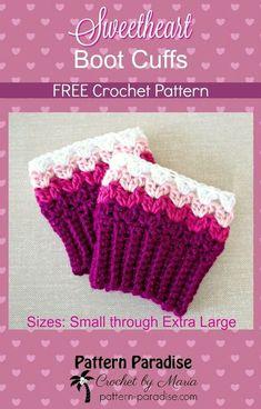 FREE Crochet Pattern - Sweetheart Boot Cuffs   Pattern Paradise