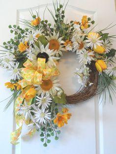Sunflower Daisy Summer Wreath for sale by HungUpOnWreaths on Etsy, $69.00