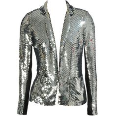 Sequin single-breasted jacket ($725) ❤ liked on Polyvore featuring outerwear, jackets, tops, blazers, coats, long sleeve blazer, silver blazer, silver sequin blazer, sequin blazer jacket and silver sequin jacket