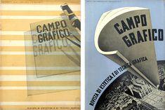 """Attilio Rossi - """"Campo Grafico Rivista di Estetica e di Tecnica Grafica"""" (1933-1939) - Italie."""