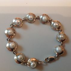 Gorgeous Pearl Sterling Silver Bracelet, Vintage Sterling Silver Bracelet, Art Deco Bracelet, Vintage Art Deco Jewelry by WorldTreasures168 on Etsy https://www.etsy.com/listing/246655155/gorgeous-pearl-sterling-silver-bracelet