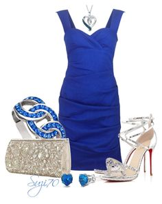"""Bold in a Blue Dress"" by suzi70 ❤ liked on Polyvore featuring Nicole Miller, Accessorize, Christian Louboutin and Fantasy Jewelry Box"