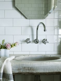 Bathroom - Byron View Farm - Stone sink vanity, polished nickel, wall-mount gooseneck faucet kit, ...