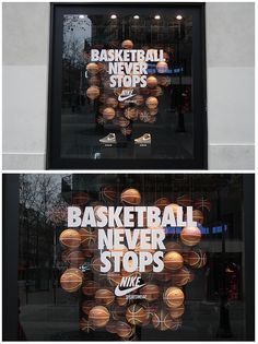 Basketball never stop Window Display Retail, Window Display Design, Basketball Store, Shoe Store Design, Sportswear Store, Nike Retail, Retail Facade, Sports Shops, Brand Store