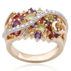 18k Yellow Gold Plated Sterling Silver Multi-Gemstone and Diamond-Accent Cluster Ring, Size 8 (Jewelry)  http://www.1-in-30.com/crt.php?p=B00332F1OW  B00332F1OW