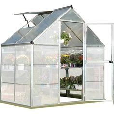 W x Ft. D Polycarbonate Greenhouse Frame Finish: Silver Lean To Greenhouse, Backyard Greenhouse, Greenhouse Plans, Greenhouse Frame, Cheap Greenhouse, Polycarbonate Greenhouse, Polycarbonate Panels, Smart Panel, Roof Vents