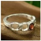 NOVICA Sterling Silver and garnet solitaire Ring Passion's Flame Novica