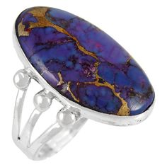 US-TURQ-01 Purple Turquoise Ring 925 Sterling Silver Handmade Jewelry