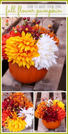 love this quick and easy Fall Flower Pumpkin Arrangement - perfect for decor!  #trickyourpumpkin