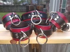 Complete leather Collar, Wrist and Ankle Cuff set in Oxblood and black #DominionLeather #BDSM #Bondage #Cuff #Collar