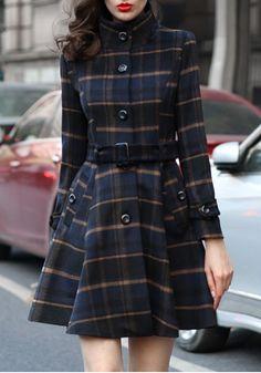 Women's Plaid Turndown Collar Single Breasted Long Sleeve Casual Wool Coat
